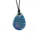 Chewigem Green and Blue Marbled Raindrop Necklace