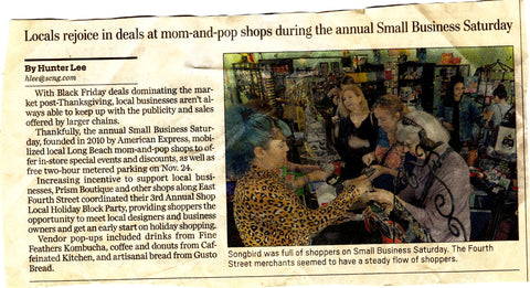 Small Business Saturday article Songbird Boutique