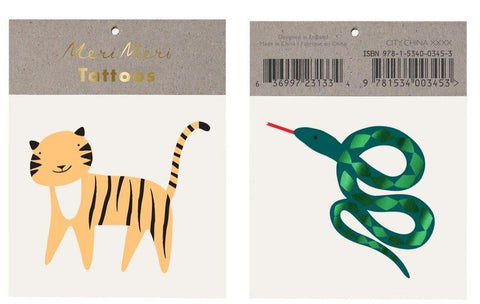jungle themed temporary tattoos with tiger and snake