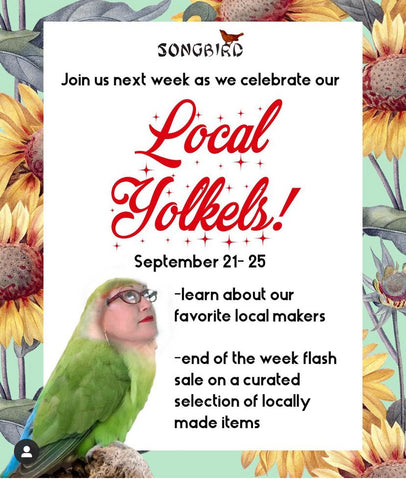 Local Yolkels event celebrating local artists and makers at Songbird Boutique in Long Beach, CA