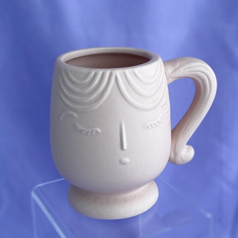 cute pink face mug with ponytail