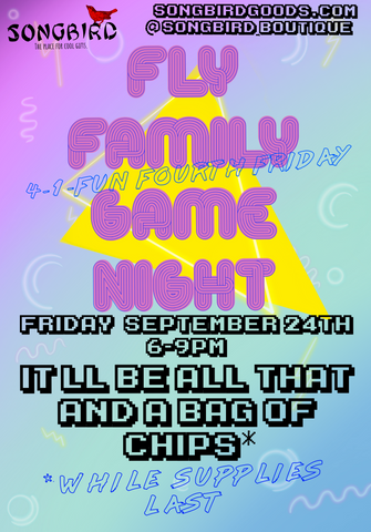 A Fly Family Game Night: games from the 80s and 90s at Songbird Boutique on Retro Row in Long Beach, CA