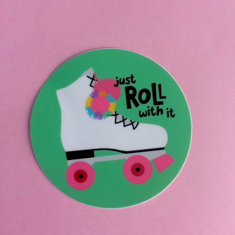 just roll with it roller skate vinyl sticker
