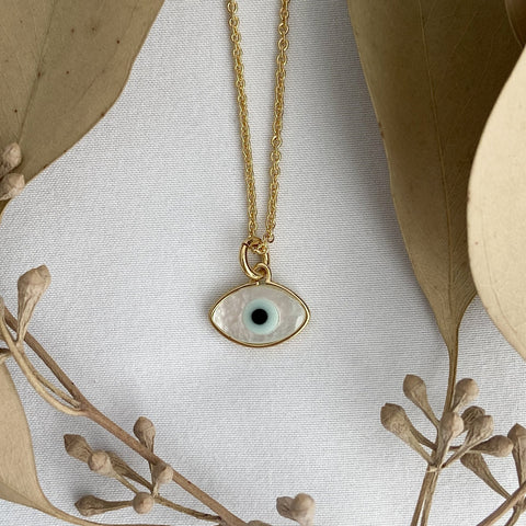 evil eye necklace made from shells and gold
