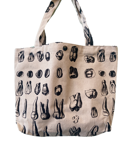 cotton canvas tote bag with vintage tooth illustrations