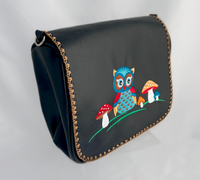 embroidered vegan leather owl cross body purse in black