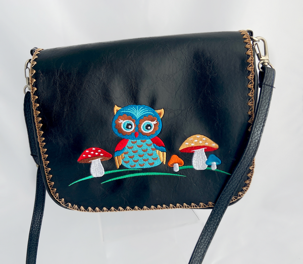 embroidered vegan leather owl cross body purse