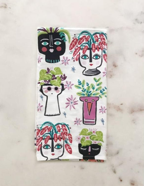 face planters on a tea towel
