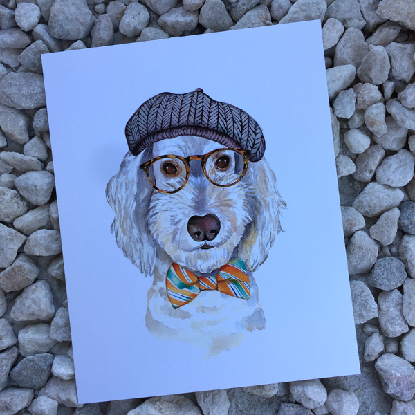 dog in human clothes art print