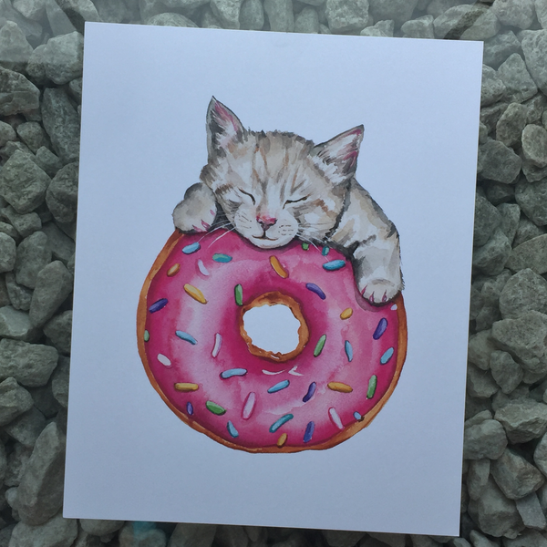 donut cat art print