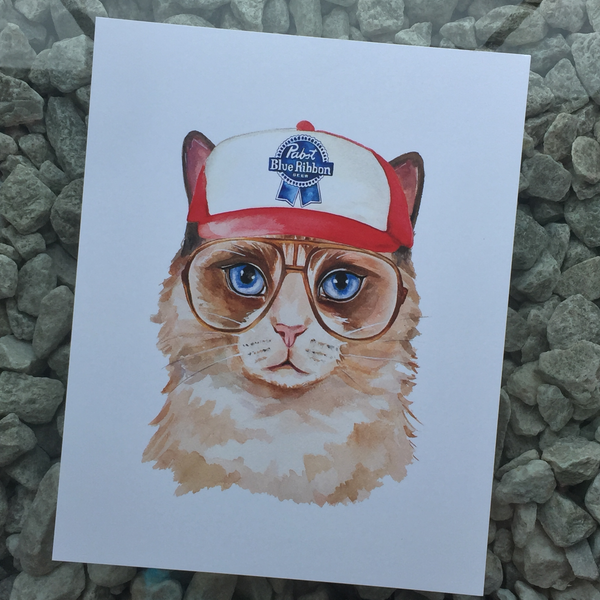 trucker cap pabst beer cat art print