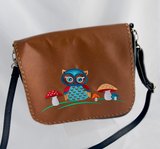embroidered vegan leather owl cross body purse in brown