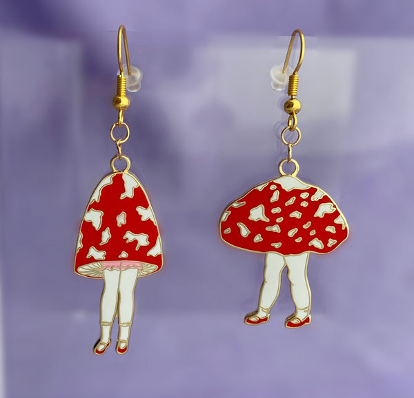 nickel free mushroom girl earrings