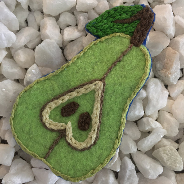 embroidered pear pin by Kristina Drake