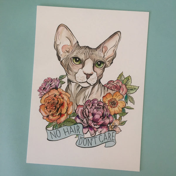 no hair don't care sphynx cat art print