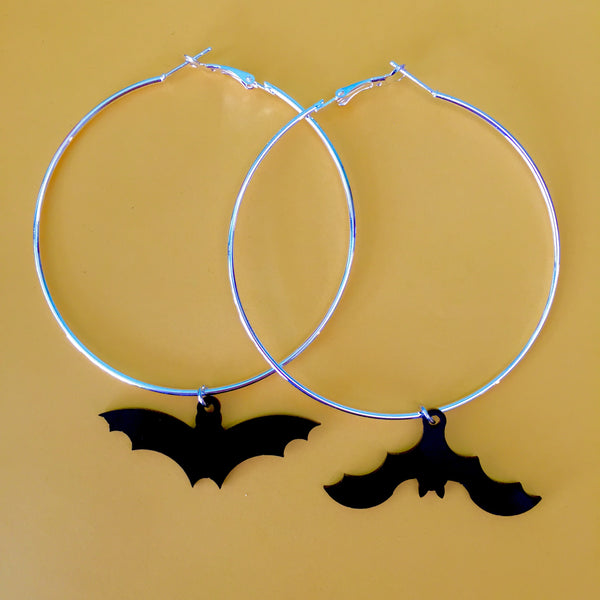 Large Bat Silhouette Hoop Earrings