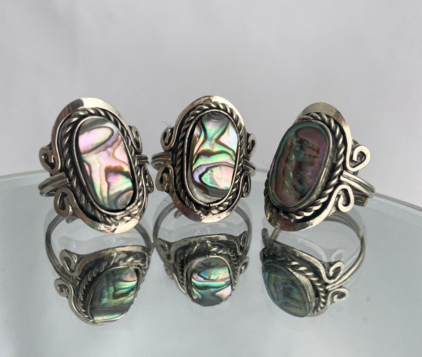 adjustable silver abalone ring