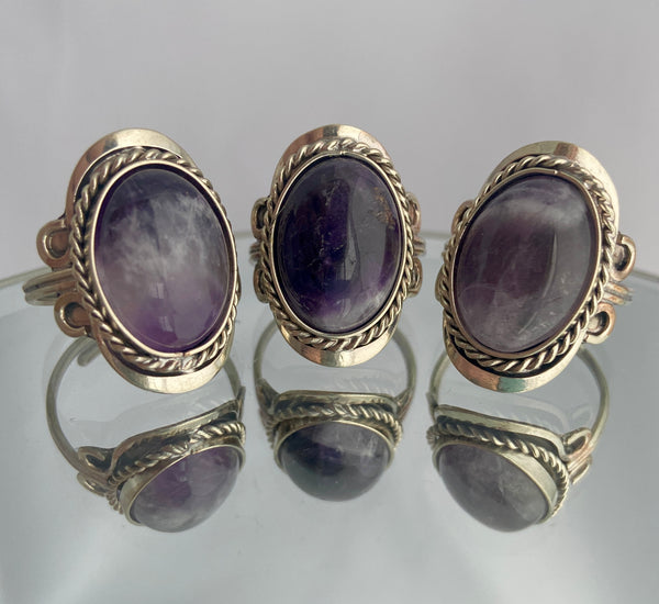 amethyst stone in adjustable silver ring band