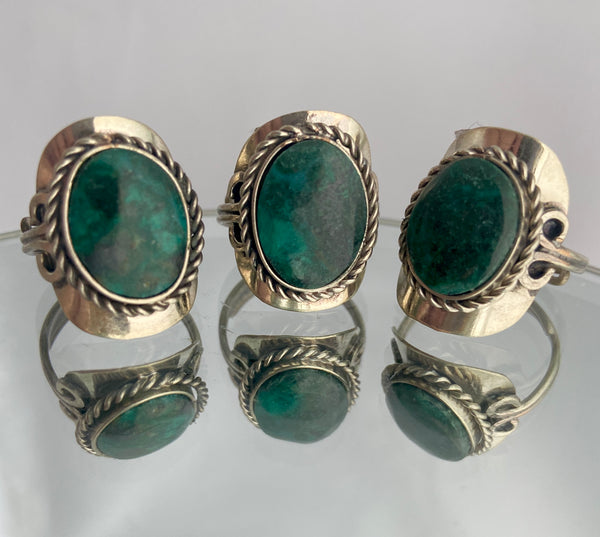 chrysacola stone set in alpaca silver adjustable band