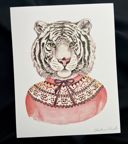 white tiger in a sweater art print