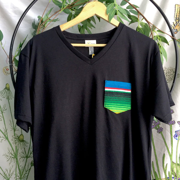 Unisex V-neck Serape Pocket Tee