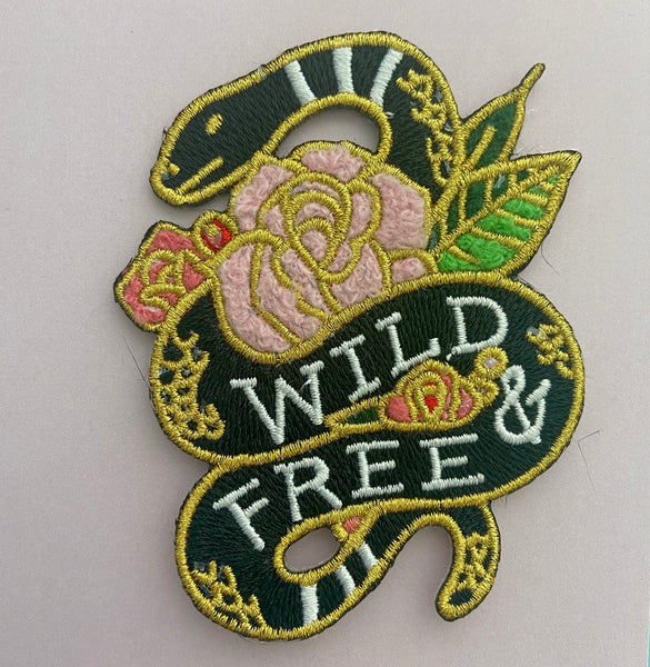 wild and free iron on snake patch