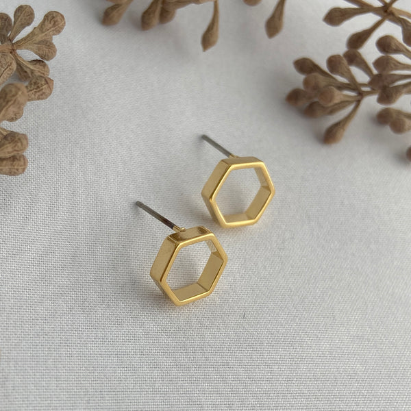 elegant 24k gold plated hexagon post earrings