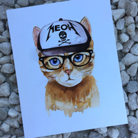 cat with heavy metal truckers cap art print