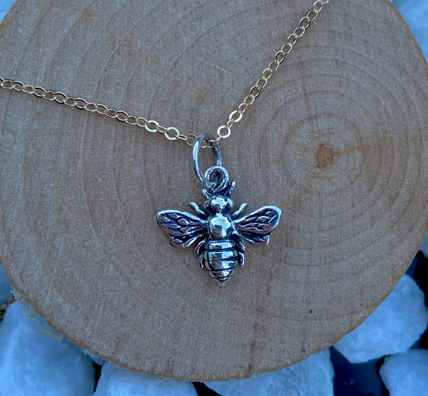 sterling silver minimalist bee necklace