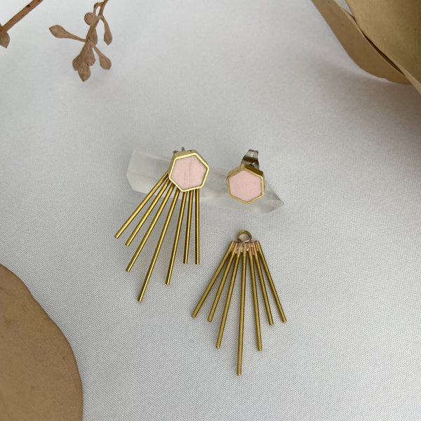Soft Pink Hexagon Studs with Jackets