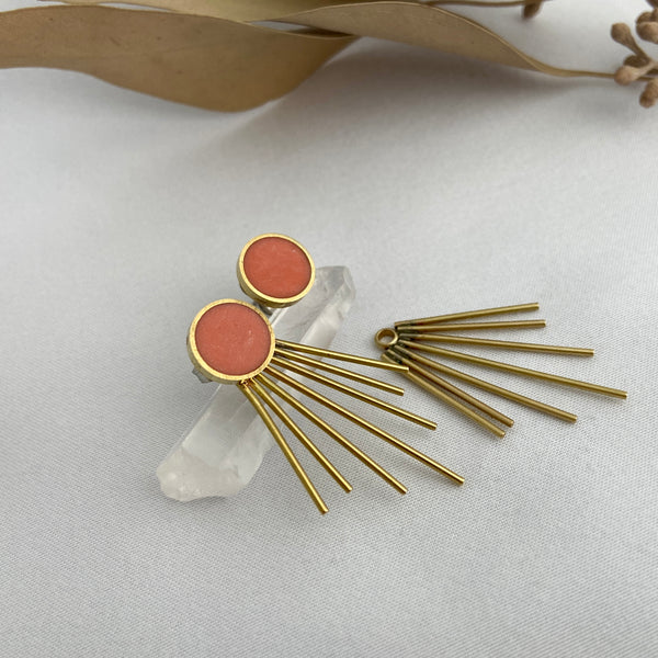 Coral Circle Studs with Jacket