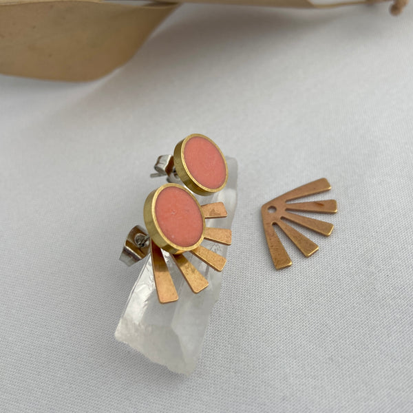 Coral Circle Studs with Eyelash Jackets