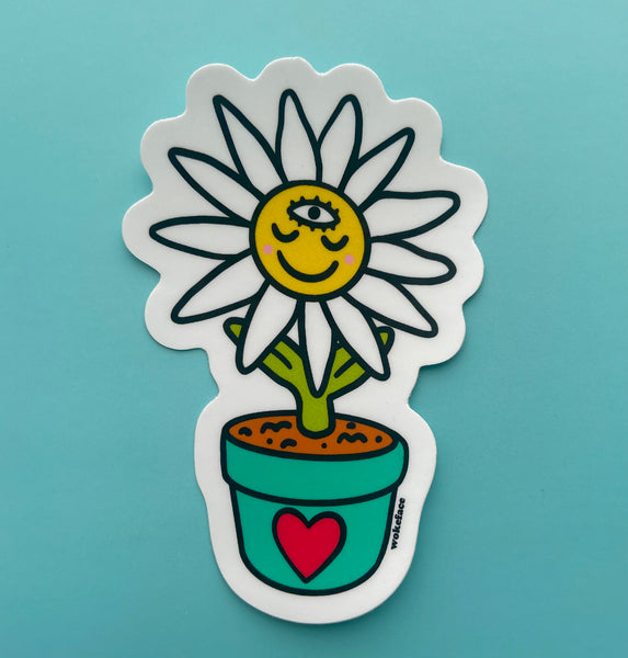 wokeface third eye potted daisy sticker