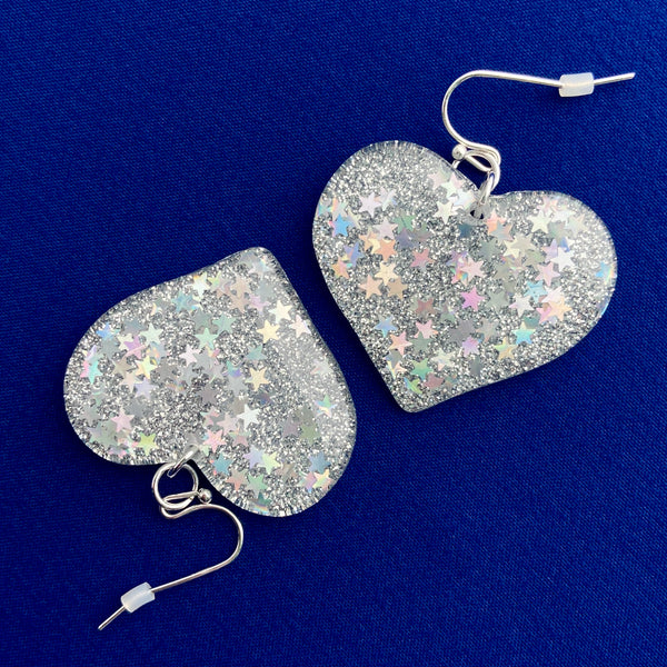 Glitter Heart Drop Earrings