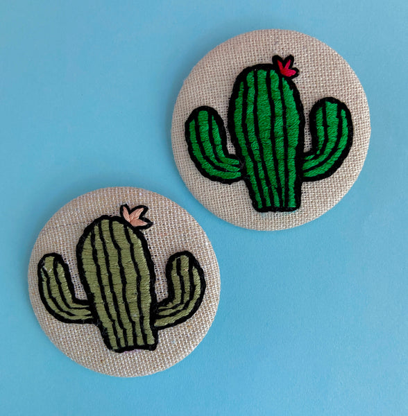 embroidered saguaro cactus pins by The Offbeat Rolo