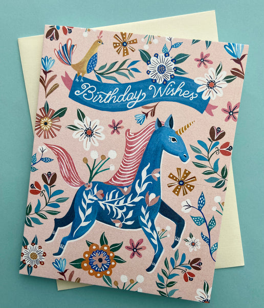 Unicorn Birthday Wishes Card