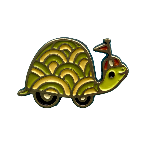Turtle on Wheels Enamel Pin