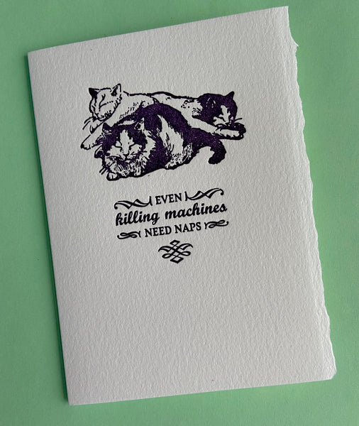 even killing machines need naps cat greeting card