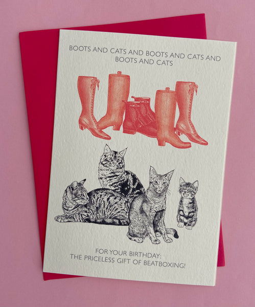 Boots and Cats Birthday Card