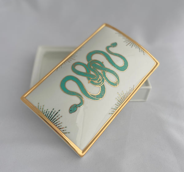 ceramic snake box in white, turquoise, and gold