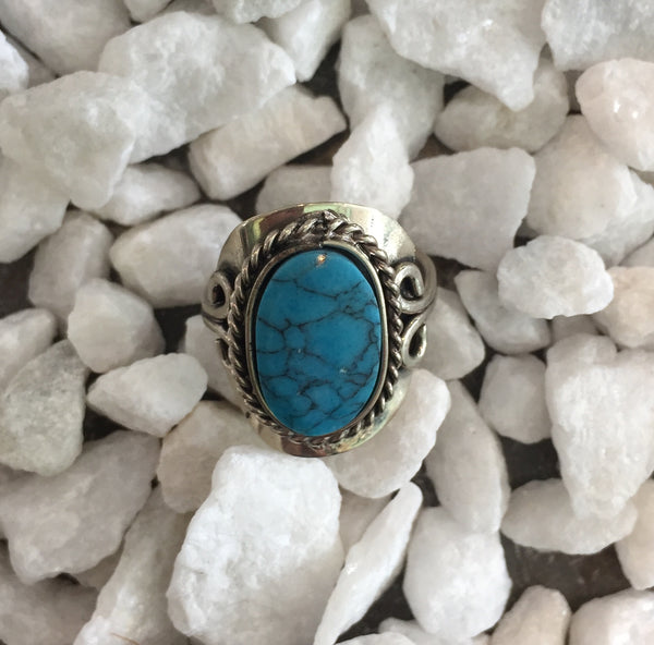Blue Dyed Howlite Ring