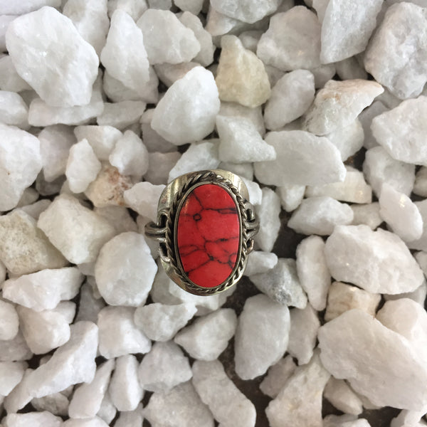 Red Dyed Howlite Ring