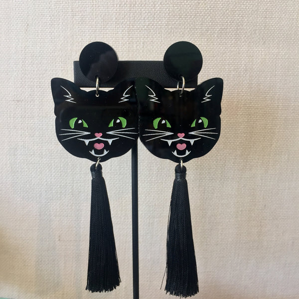 Black Cat Drop Earrings