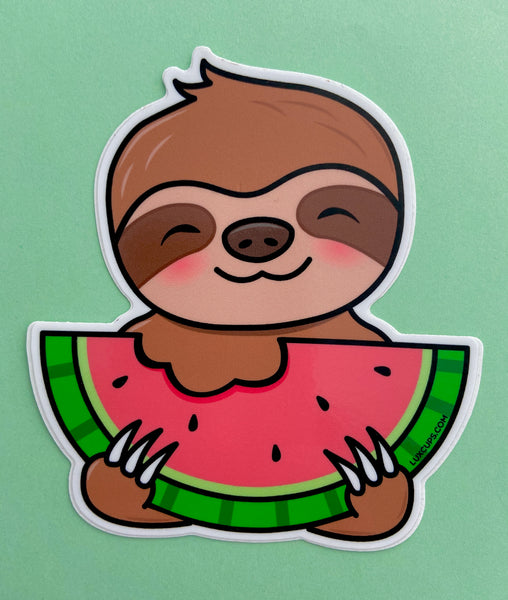 Sloth Eating a Watermelon Sticker