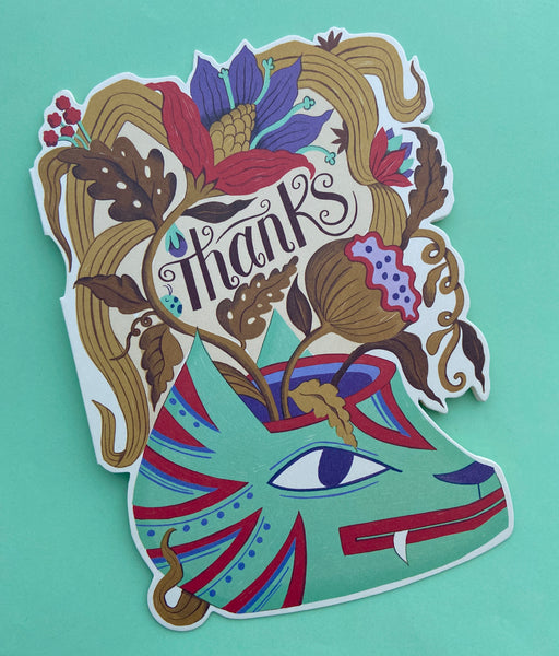 cat vase die cut thank you card