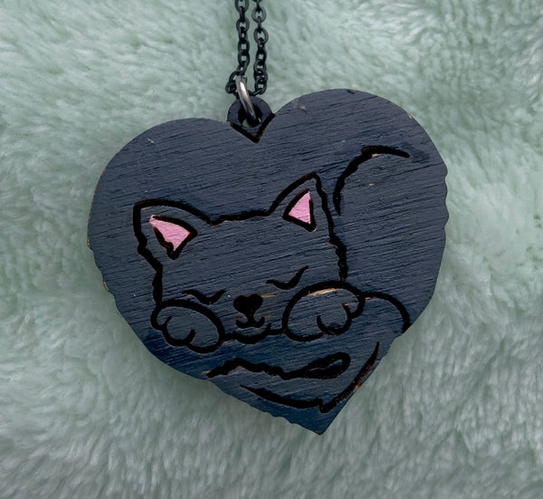 Sleeping Cat Heart Necklace