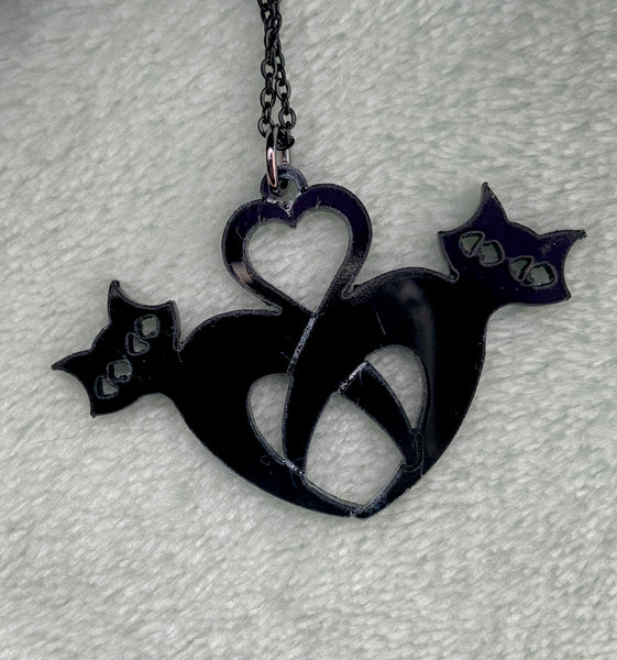 Entangled Black Cats Necklace