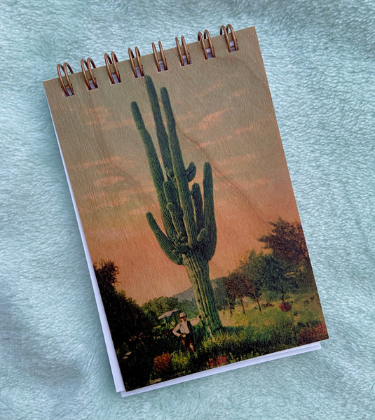 saguaro cactus notepad with wooden cover