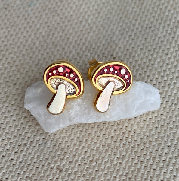 Mushroom Post Earrings