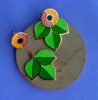 Flower Earrings with Leaf Jackets